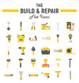 build and repair flat icon set construction signs vector image