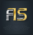 a and s initial gold and silver logo vector image