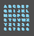 alphabet simple style with shadows blue new vector image