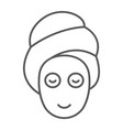 beauty mask thin line icon skin and beauty face vector image