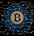 bitcoin in the air technology background vector image vector image