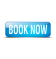 book now blue square 3d realistic isolated web