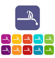 burning match icons set flat vector image vector image