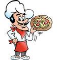 cartoon a happy italian pizza chef baker vector image