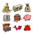 cartoon set business money symbols vector image vector image