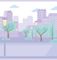 city street urban park trees lamps cityscape town vector image