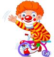 clown on three wheeled bicycle vector image vector image