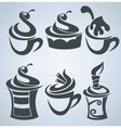 collection cakes and sweet drinks vector image vector image