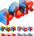 Colored text in isometric view vector image vector image