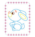 coloring book of beautiful blue fun bunny vector image