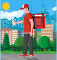 courier uniform receiving web order on phone vector image vector image