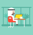 cute arab business man sitting in cafe