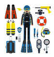equipment for underwater sport gas scuba wetsuit vector image