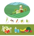 Farm and food grown on it vector image