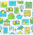 finance seamless pattern in colored line style vector image