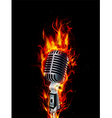 Fire burning microphone on black background vector image