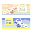 Fresh farm products Happy cow on meadow Editable vector image vector image