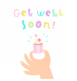 Get well soon Hand holding a cupcake vector image vector image