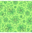 Green doodle flowers seamless pattern vector image