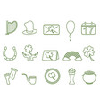 green st patricks day outline icon set vector image vector image