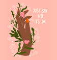 hand and flowers with hand lettering vector image vector image