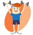 Hipster funny man lifting dumbbells Flat style vector image vector image