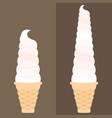 ice cream soft serve in waffle cone vector image vector image