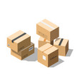 isometric cardboard parcel boxes isolated vector image