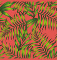 living coral background green tropical leaves vector image