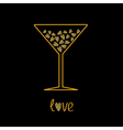 Martini glass with pink hearts inside Love card vector image vector image