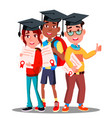 multinational group of students in graduation caps vector image vector image