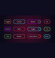 neon buttons glow web entering click lighting vector image vector image