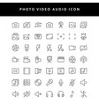 photo video outline icon set vol1 vector image vector image