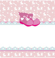 Pink baby shower card with baby girl shoes vector image