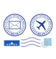 postmarks milan and stamps blue postal elements vector image vector image