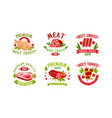 premium meat logo collection natural fresh high vector image vector image