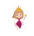 princess fairy with crown and magic wand and vector image vector image