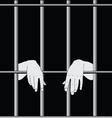 Prisoner behind bars vector image