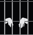 Prisoner behind bars vector image vector image