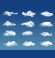 realistic clouds in blue sky or heaven background vector image vector image
