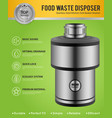 realistic food waste disposer poster vector image vector image