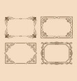 rectangular borders with curved elements and lines vector image