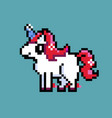 red unicorn standing on blue background vector image