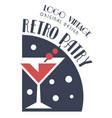 retro party vintage logo design template vector image vector image