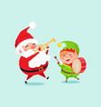 santa playing on trumpet green elf with drum vector image vector image