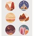 set flat minimalist landscapes in round frames vector image vector image