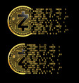 set of crypto currency zcash golden symbols vector image vector image