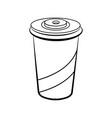 sketch soda glass plastic vector image vector image