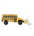 snow plow school bus in flat style on white vector image vector image