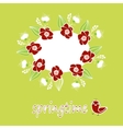 Spring word flowers and bird vector image vector image